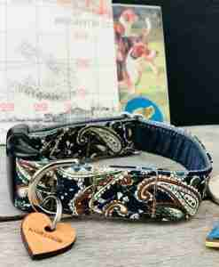 Scrufts Weller Navy Paisley Dog Collar with Navy Velvet Lining