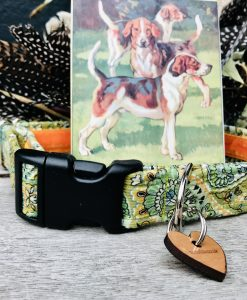 Scrufts Nutley Sage Green Paisley Corduroy Dog Collar with Orange Velvet Lining