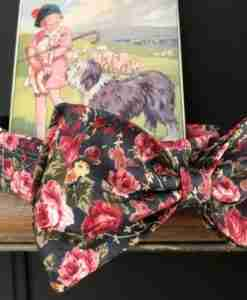 Scrufts Lola Floral Bow Tie Velvet Lined Dog Collar