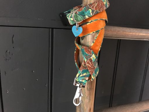 Scrufts Club Tropicana Green Jungle Print Dog Collar and Lead with Orange Velvet Lining