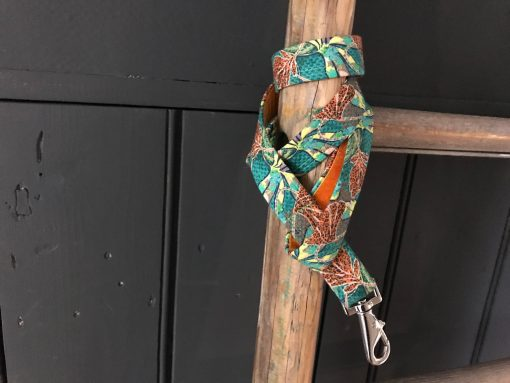 Scrufts Club Tropicana Green Jungle Print Dog Lead with Orange Velvet Lining