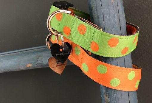 Scrufts Orange Emerald Polka Dot Dog Collar with Orange Velvet Lining