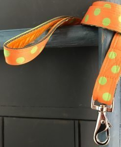 Scrufts Orange Emerald Polka Dot Dog Lead with Orange Velvet Lining