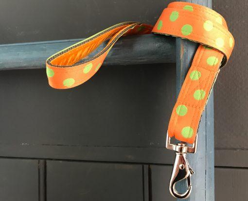 Scrufts Orange Emerald Polka Dot Dog Lead with Orange Velvet Lining
