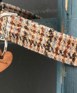 Freddie Tweed Dog Collar with Brown Velvet Lining