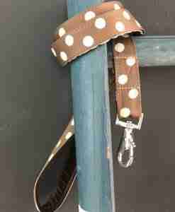 Scrufts Cadbury Chocolate and Cream Polka Dot Dog Lead with Brown Velvet Lining