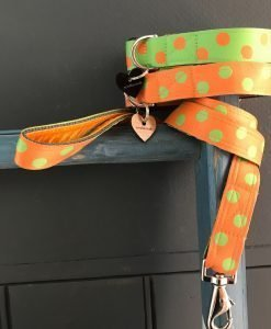 Scrufts Orange Emerald Polka Dot Dog Collar and Lead with Orange Velvet Lining