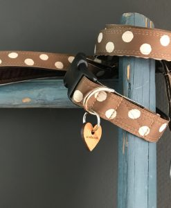 Scrufts Cadbury Chocolate and Cream Polka Dot Dog Collar and Lead with Brown Velvet Lining