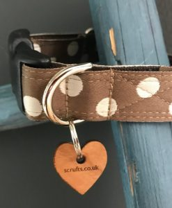 Scrufts Cadbury Chocolate & Cream Polka Dot Dog Collar with Brown Velvet Lining