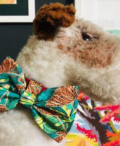 Scrufts Jungle Print Green Dog Bow Tie