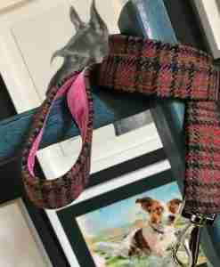 Scrufts Damson Tweed Dog Lead with Pink Velvet Lining