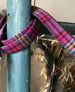 Scrufts Heather Purple Checked Dog Lead with Plum Velvet Lining