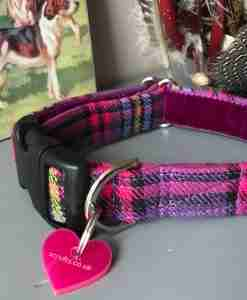 Scrufts Heather Purple Checked Dog Collar with Plum Velvet Lining