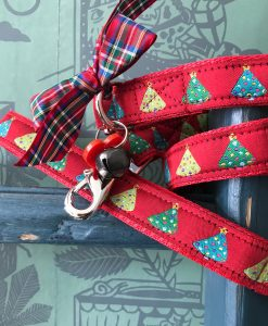 Scrufts Red Bauble Christmas Dog Collar and Lead with Red Velvet Lining