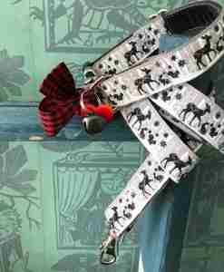 Scrufts Bambi Christmas Dog Collar and Lead with Velvet Lining