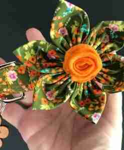 Scrufts Clarice Green Floral Dog Collar with Detachable Bloom