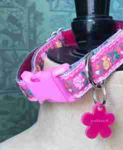 Scrufts Edelweiss Tyrolean Dog Collar in Pink with Velvet Lining