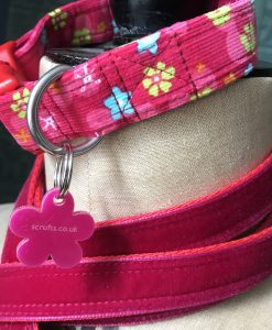 Scrufts' Mabel Sugar Pink Baby Corduroy Floral Dog Collar and Plum Velvet Lead