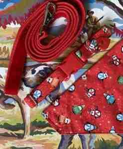 Scrufts Jolly Penguins Dog Collar, Bandana and Velvet Lead