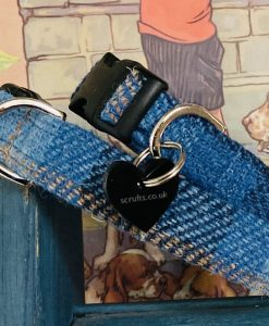 Scrufts Denim Blue Harris Tweed Dog Collar with Velvet Lining