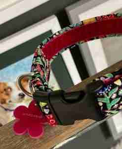 Scrufts Hollyhock Velvet Lined Black Floral Dog Collar