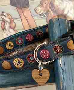 Scrufts Oska Dog Collar with Teal Velvet Lining