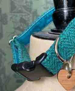 Scrufts Saile Emerald Green Harris Tweed Dog Collar with Velvet Lining
