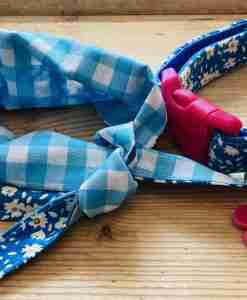 Scrufts Daisy Blue and White Floral Dog Collar With Matching Bandana