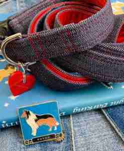 Scrufts Levi Denim Dog Collar and Lead with Velvet Lining